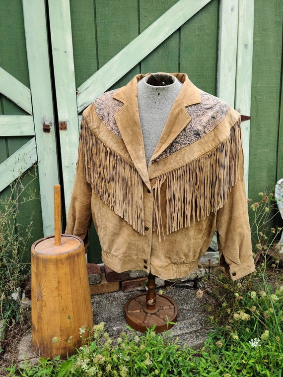 Comint Suede Leather Fringed Men's Jacket (extra l