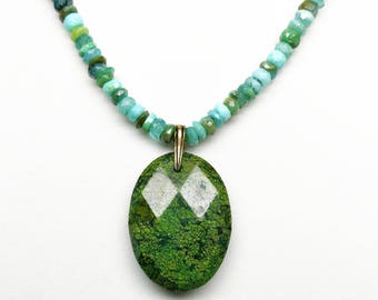 Green and Blue Opal, Green Turquoise, Green Spot Jasper Pendant Necklace