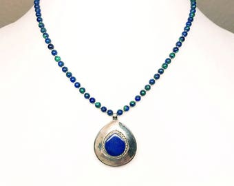 Lapis Lazuli Sterling Silver Pendant, Azurite Silver Bead Necklace