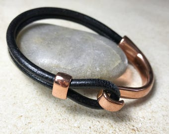 Black Leather Bracelet with Rose Gold Metal Clasp