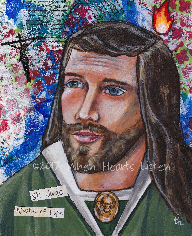 St  Jude, patron saint, patron of lost causes, apostle of hope, saint art,  modern icon, religious icon, confirmation gift, saint print