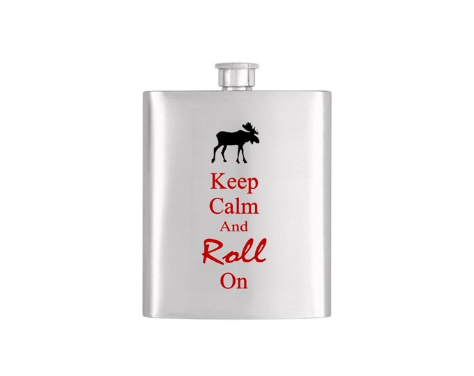 Keep Calm and Roll On New Hampshire Flask *** FREE FUNNEL INCLUDED *** - Flask#2