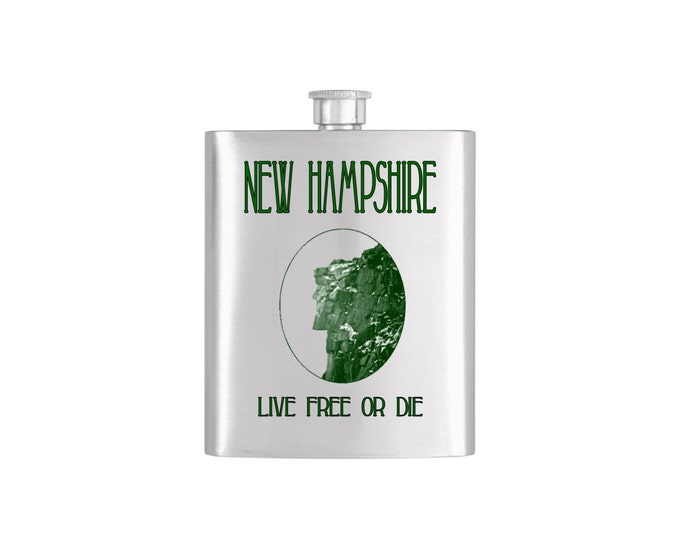 New Hampshire Old Man of the Mountain Live Free or Die Flask *** FREE FUNNEL INCLUDED ***  - Flask#51