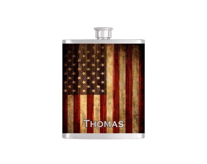 USA Rustic American Flag Personalized Flask By Bottoms Up Flasks  - Stainless Steel 7 oz Liquor Hip Flasks - Flask #292