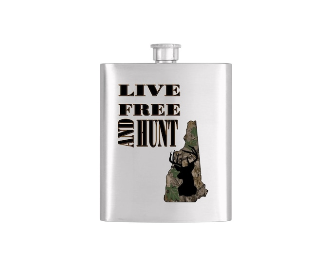 Live Free and Hunt New Hampshire *** FREE FUNNEL INCLUDED *** -  Bachelor Party Mens  Stainless Steel 7 oz Liquor Hip Flasks - Flask #112