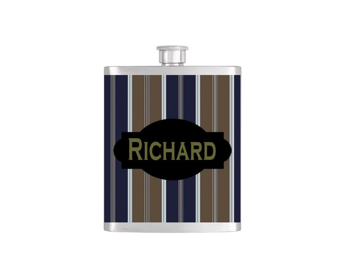 Personalized with Stripe Pattern Guy's Gift , Groom Hunter Bestman Gift  - Stainless Steel 7 oz Liquor Hip Flasks - Flask #172