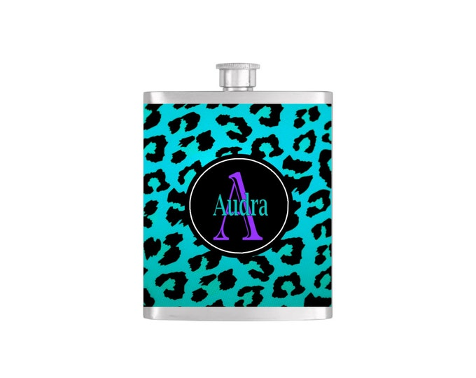Personalized Cheetah Print  with Funnel By Bottoms Up Flasks Stainless Steel 7oz Liquor Hip Flasks - Flask #244