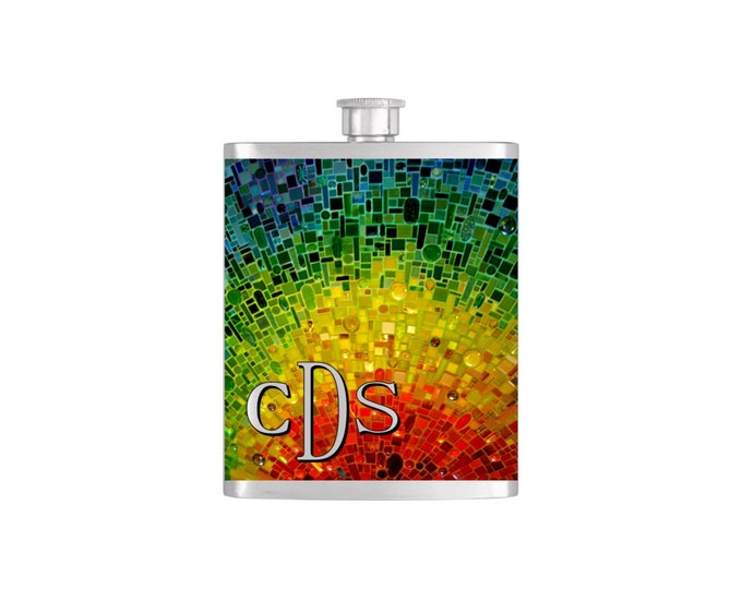 Monogram Mosaic Rainbow  Pride Tile Bridal Party Bridesmaid Flask Pack with Funnel Stainless Steel 7oz Liquor Hip Flasks - Flask #150