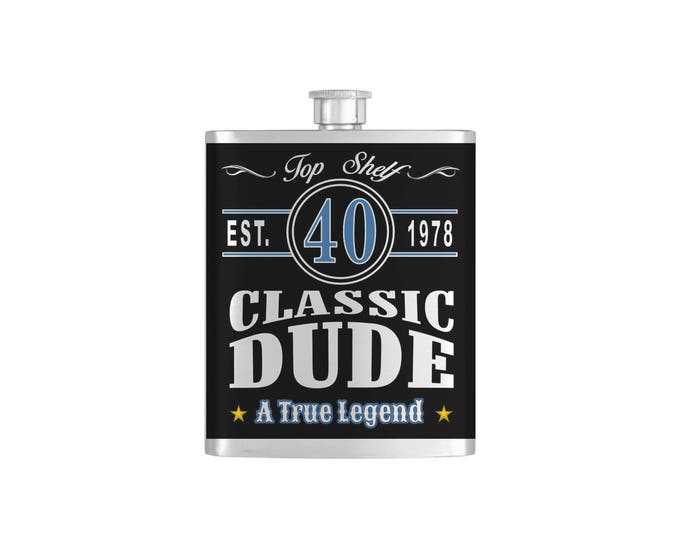 Classic Dude, Vintage Dude, Old Dude Over The Hill 40th Birthday Flask - Stainless Steel 7 oz Liquor Hip Flasks - Flask #406