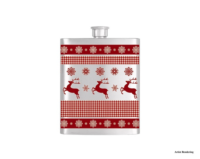 Reindeer Ugly Sweater Chistmas Holiday Flask By Bottoms Up Flasks  - Stainless Steel 7 oz Liquor Hip Flasks - Flask #320
