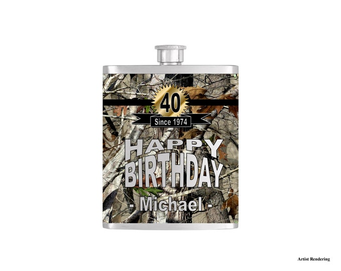 Mens Camoflauge Birthday Flask By Bottoms Up Flasks  - Stainless Steel 7 oz Liquor Hip Flasks - Flask #311