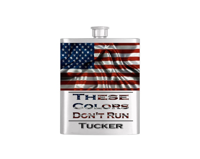 USA American Flag These Colors Don't Run Personalized Flask By Bottoms Up Flasks  - Stainless Steel 7 oz Liquor Hip Flasks - Flask #293