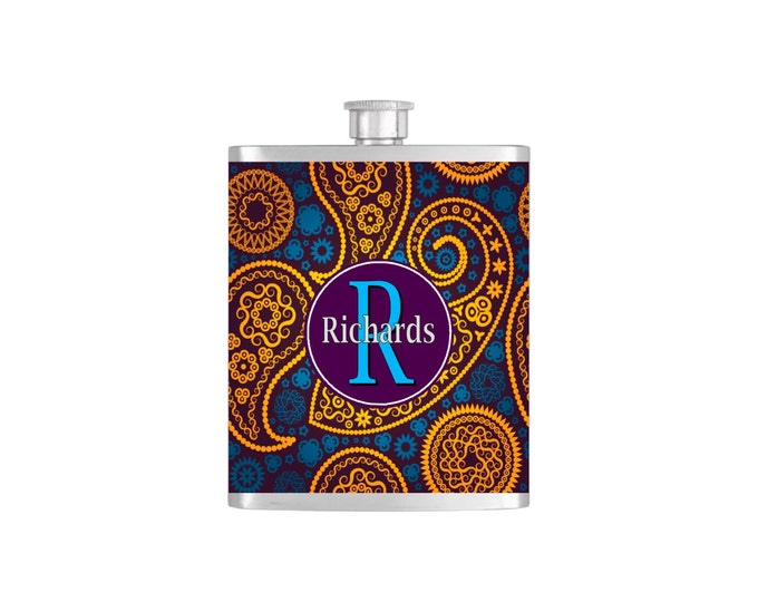 Personalized Flask Name Monogram Paisley Pattern Custom Color Bridesmaids Gifts  - Stainless Steel 7oz Liquor Hip Flasks - Flask #157