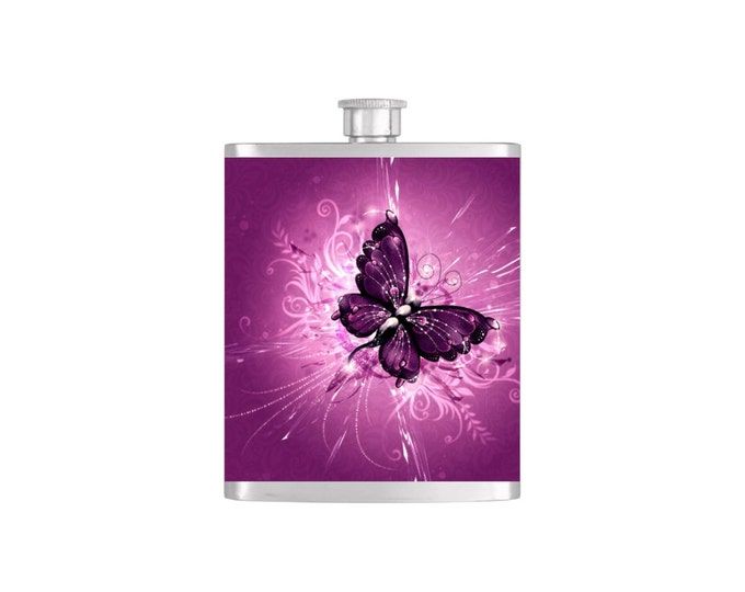 Butterfly Bridal Party Batchelorette Flask with Funnel Stainless Steel 7oz Liquor Hip Flasks - Flask #134