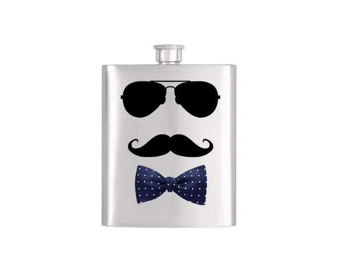 Bow Tie Aviator Moustache Bridal Party Groomsmen Flask or Coffee Mug  Funnel Stainless Steel 7 oz Liquor Hip Flasks - Flask #142