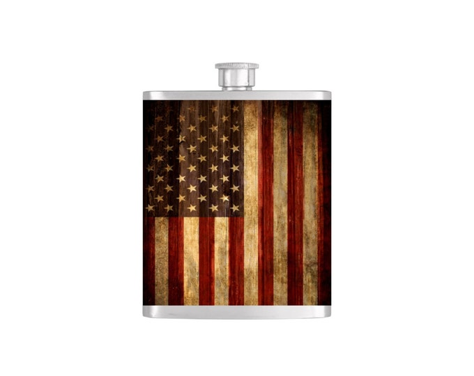 USA Rustic American Flag Flask By Bottoms Up Flasks  - Stainless Steel 7 oz Liquor Hip Flasks - Flask #292