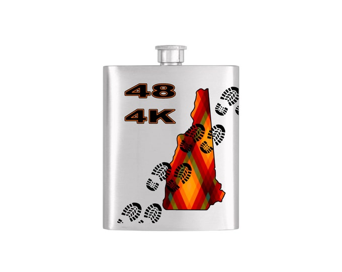 New Hampshire 48 4,000 Footer Hiking Flask Bottoms Up Custom Flasks Personalized Stainless Steel Whiskey Flask - Flask# 360
