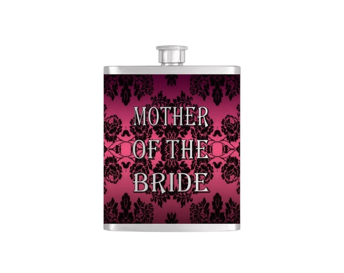 Mother of the Bride Wedding Party Flask Gifts Stainless Steel 7 oz Liquor Hip Flasks - Flask #77
