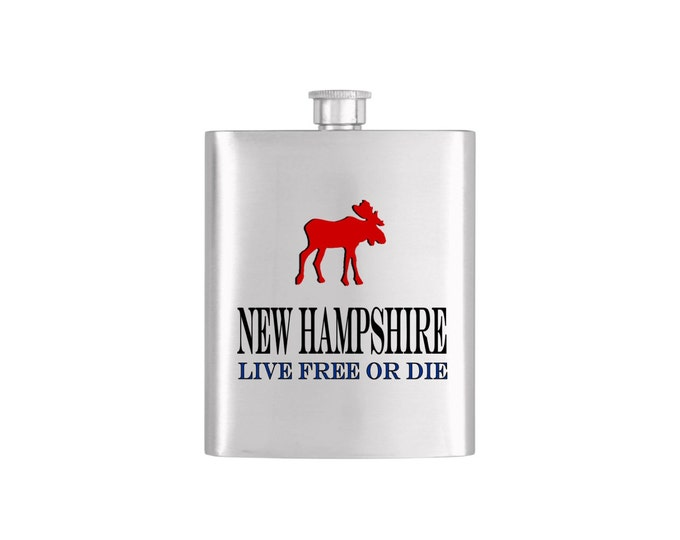 Moose Live Free or Die New Hampshire Flask *** FREE FUNNEL INCLUDED *** - Flask#3