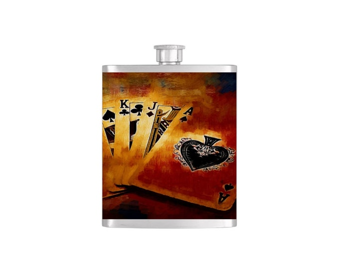 Poker Playing Cards Whiskey Flask Hearts Las Vegas Gambling Bachelor Party Stainless Steel 7 oz Liquor Hip Flasks - Flask #82