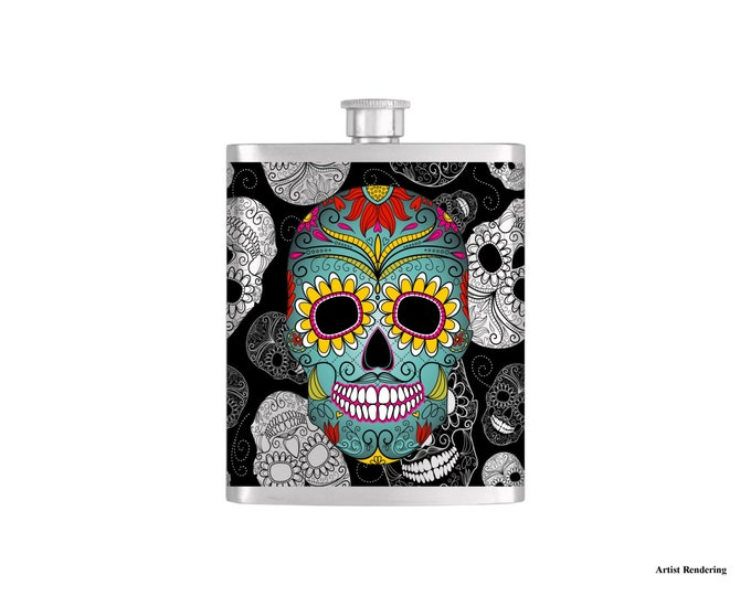 Day of the Dead Flask By Bottoms Up Flasks  - Stainless Steel 7oz Liquor Hip Flasks - Flask #300