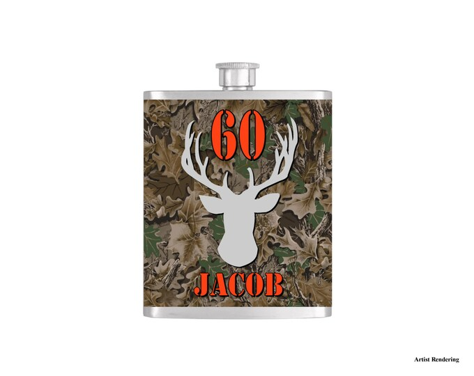 Over The Hill 60th Deer Camoflauge Hunter Orange Birthday Flask By Bottoms Up Flasks  - Stainless Steel 7 oz Liquor Hip Flasks - Flask #298