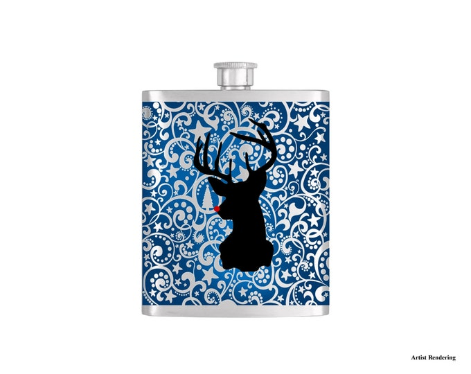 Reindeer Silhouette Christmas Holiday Flask By Bottoms Up Flasks  - Stainless Steel 7 oz Liquor Hip Flasks - Flask #318
