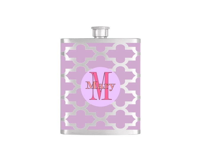 Personalized Flask Custom Name Initial Color Monogram Bridesmaid Flask with Funnel Stainless Steel 7oz Liquor Hip Flasks - Flask #137