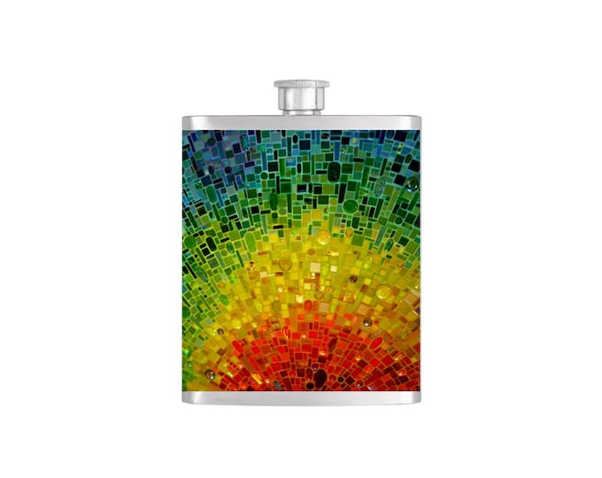 Rainbow Mosaic Bridal Party Bridesmaid Flask Pack with Funnel Stainless Steel 7oz Liquor Hip Flasks - Flask #146
