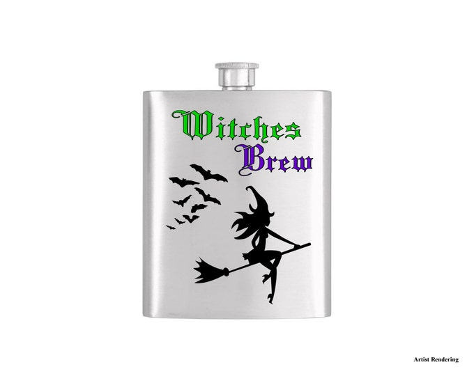 Witches Brew Sexy Witch and Bats Halloween Flask By Bottoms Up Flasks  - Stainless Steel 7 oz Liquor Hip Flasks - Flask #322