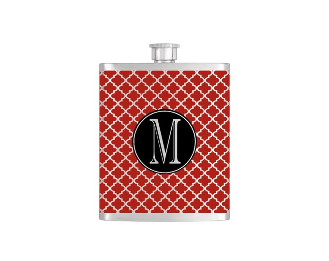 Initial Moroccan Pattern Bridesmaid Flask By Bottoms Up Flasks  - Stainless Steel 7oz Liquor Hip Flasks - Flask #341