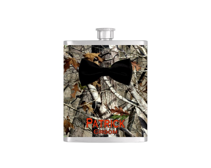 Black Bow Tie Groomsmen Camoflauge Bow Tie Flask with FREE Funnel - Mens Stainless Steel 7 oz Liquor Hip Flasks - Flask #344
