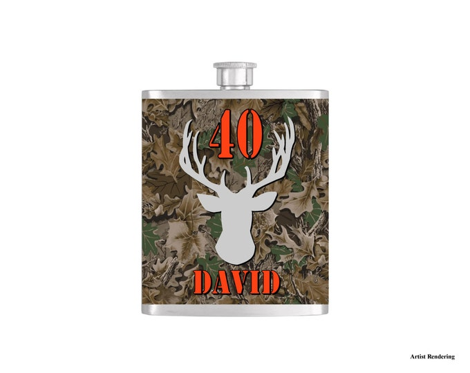 Over The Hill 40th Deer Camoflauge Hunter Orange Birthday Flask By Bottoms Up Flasks  - Stainless Steel 7 oz Liquor Hip Flasks - Flask #296