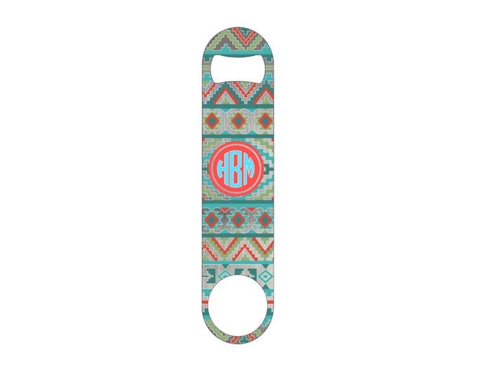 Southwest Aztec Monogram Bottle Opener / Bar Blade By Bottoms Up Flasks  - Stainless Steel - BtlOpener #26