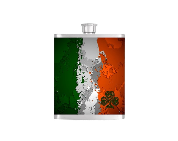 Celtic Shamrock and Irish Flag St. Patricks Day Flask with Funnel Stainless Steel 7 oz Liquor Hip Flasks - Flask #119