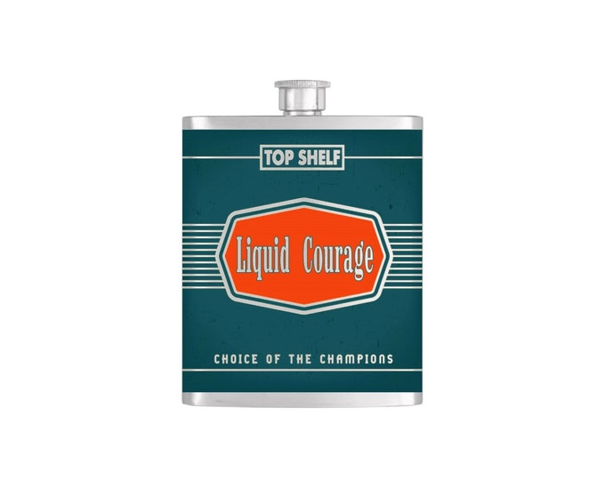 Top Shelf Liquid Courage Groomsmen Guy's Flask By Bottoms Up Flasks  - Stainless Steel 7 oz Liquor Hip Flasks - Flask #254