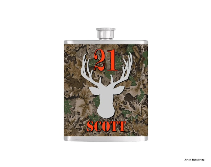 Over The Hill 21st Deer Camoflauge Hunter Orange Birthday Flask By Bottoms Up Flasks  - Stainless Steel 7 oz Liquor Hip Flasks - Flask #299