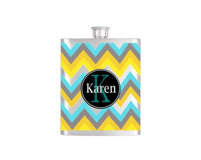 Personalized Chevron Print  Monogram Bridesmaid Flask with Funnel Stainless Steel 7oz Liquor Hip Flasks - Flask #224