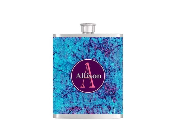 Personalized Flask Name Monogram Teal and Purple Pattern Bridesmaids Gifts  - Stainless Steel 7oz Liquor Hip Flasks - Flask #162
