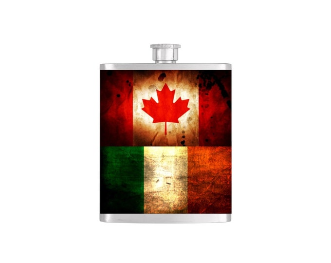 Rustic Canadian and Irish Flag Personalized Groomsman Wedding Party Flasks or  - Flask#378
