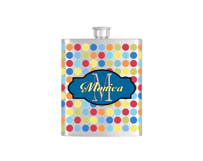 Personalized Flask Name Monogram Polka Dot Pattern Custom Color Bridesmaids Gifts - Stainless Steel 7oz Liquor Hip Flasks - Flask #173