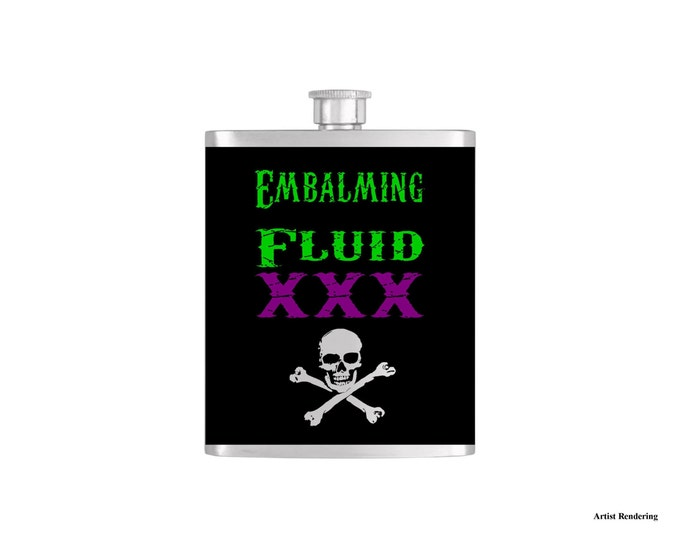 Embalming Fluid XXX Cross Bones Halloween Flask By Bottoms Up Flasks  - Stainless Steel 7 oz Liquor Hip Flasks - Flask #321