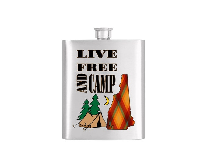 Live Free and Camp New Hampshire with FREE Funnel- Bachelor Party Mens Stainless Steel 7 oz Liquor Hip Flasks - Flask #151