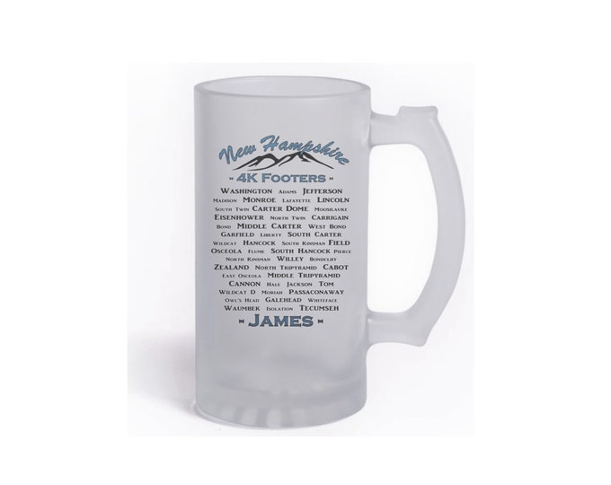 NH 48 4,000 Footer Mountain List German Beer Stein or Frosted Glass Stein #404