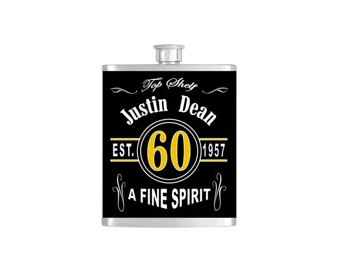 Over The Hill 60th Birthday Flask By Bottoms Up Flasks  - Stainless Steel 7 oz Liquor Hip Flasks - Flask #290