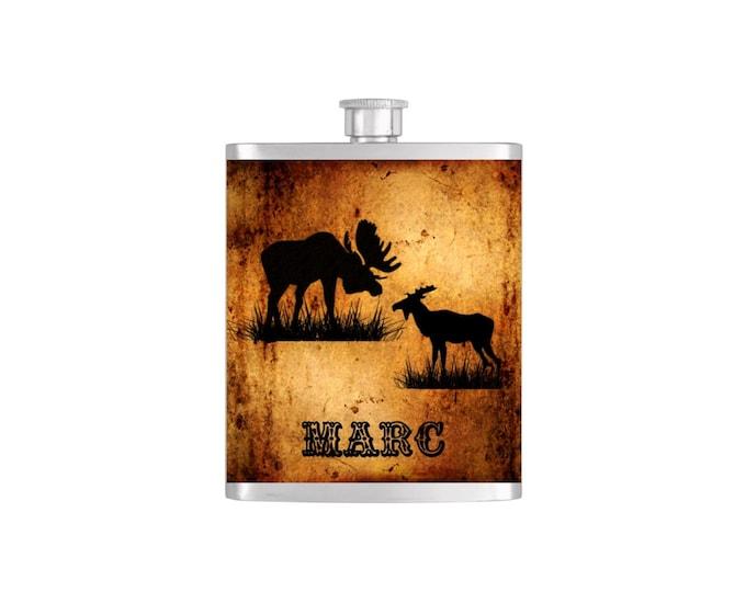 Personalized Moose Groomsmen Guy's Flask  - By Bottoms Up Custom Flasks Stainless Steel 7 oz Liquor Hip Flasks - Flask #262
