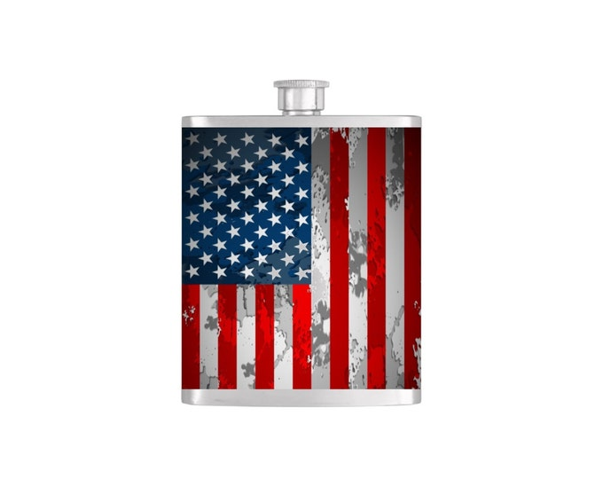USA Rustic Grunge American Flag Flask By Bottoms Up Flasks  - Stainless Steel 7 oz Liquor Hip Flasks - Flask #400