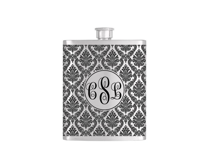 Personalized Flask Name Monogram on Black Paisley Pattern Wallpaper Bridesmaids Gift - Stainless Steel 7oz Liquor Hip Flask - Flask#362