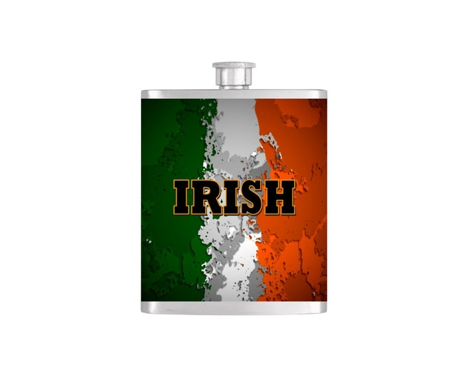 Irish Flag St. Patricks Day Flask with Funnel Stainless Steel 7 oz Liquor Hip Flasks - Flask #118