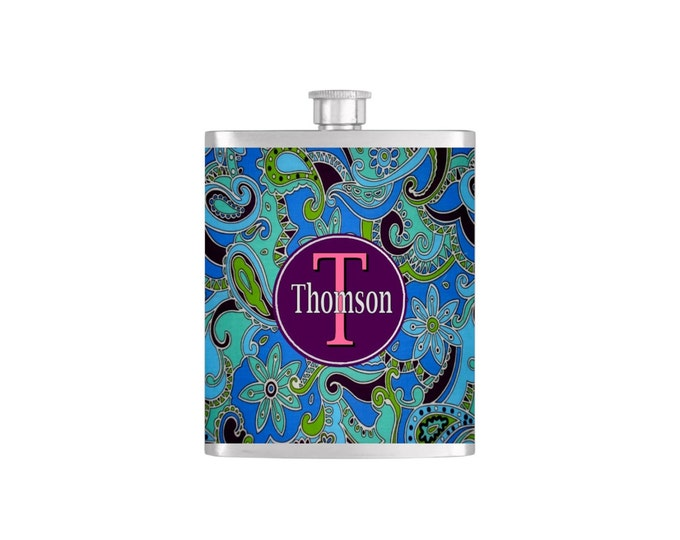 Personalized Flask Name Monogram Paisley Pattern Custom Color Bridesmaids Gifts  - Stainless Steel 7oz Liquor Hip Flasks - Flask #152